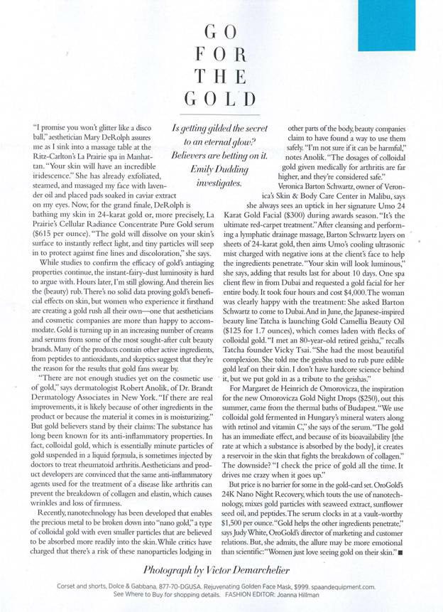 OROGOLD Feature in Harper's Bazaar