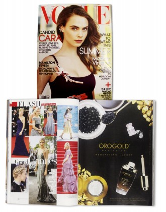 OROGOLD Cosmetics in Vogue.