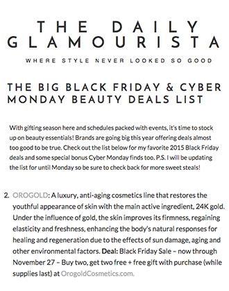 OROGOLD Black Friday Sale Featured on The Daily Glamourista