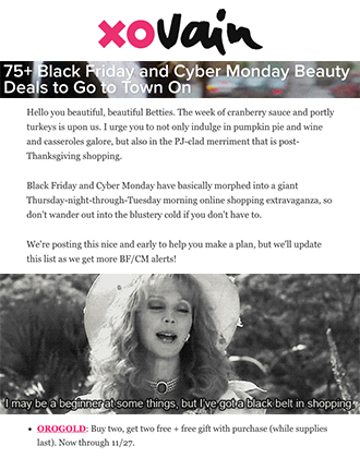 xoVain featured our OROGOLD Black Friday Sale.