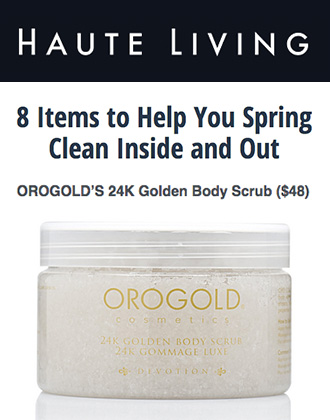 24K Golden Body Scrub featured on Haute Living.