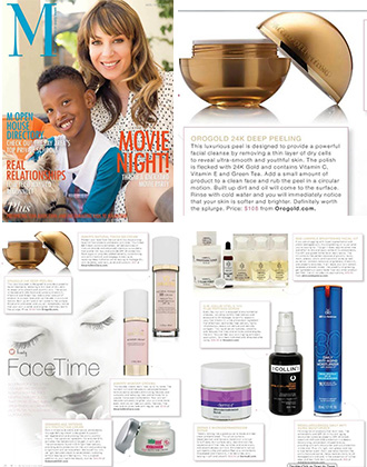M Magazine features OROGOLD Cosmetics.
