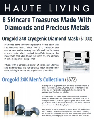 HauteLiving.Com features OROGOLD products.