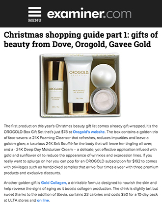 OROGOLD Box makes it to Examiner.com's Christmas Shopping Guide.